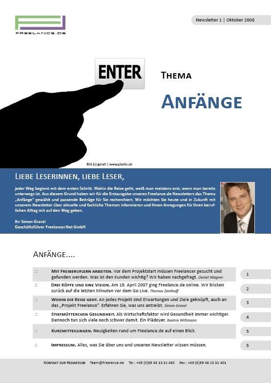 Die Erstausgabe des Freelance.de Newsletters.