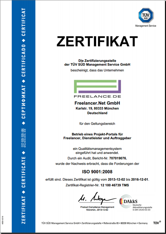 ISO 9001 Zertifikat von Freelance.de