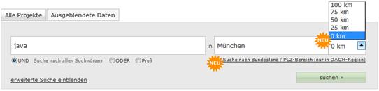 Umkreissuche in der Projektbörse bei Freelance.de
