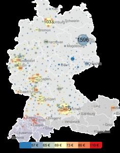 Regionale Verteilung von IT-Freelancern (durchschnittliche Stundensätze)