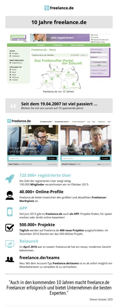 freelance.de feiert 10-jähriges Firmenjubiläum