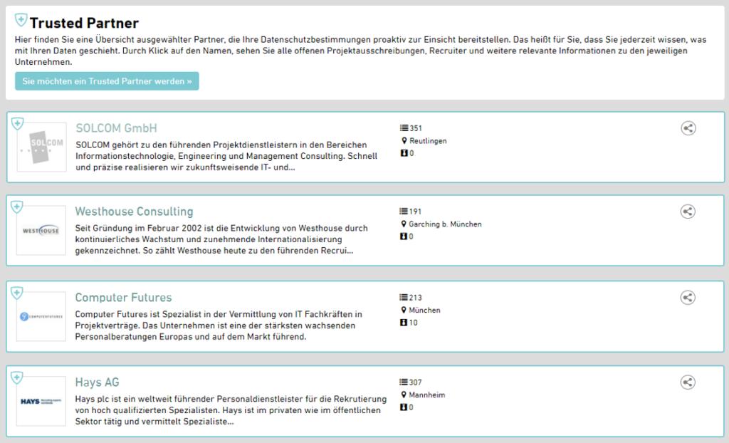 trusted partner bereich enterprise+ freelance.de