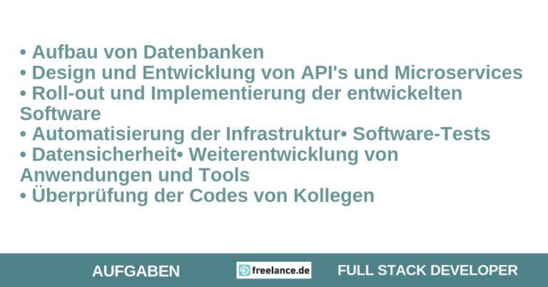 Aufgaben Full Stack Developer