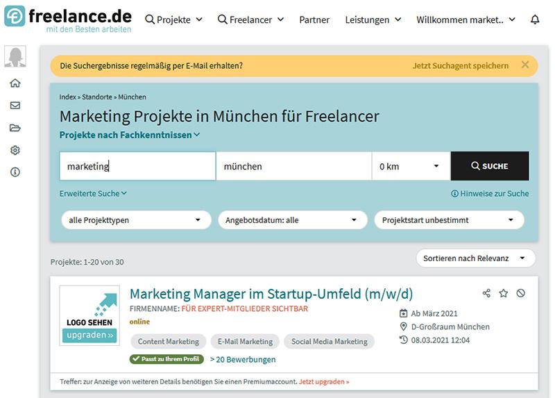 Suchagent anlegen freelance.de